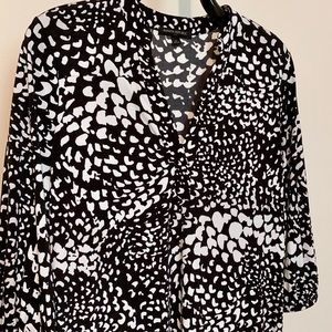 BR Abstract Black/White 3/4-Sleeve Dress S